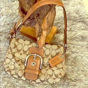💕Coach hobo Brown logo on beige handbag